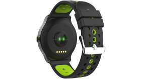 Smart watch, 1.3inches IPS full touch screen, Alloy+plastic body,IP68 waterproof, multi-sport mode with swimming mode, compatibility with iOS and android,Black-Green with extra belt, Host: 262x43.6x12.5mm, Strap: 240x22mm, 60g
