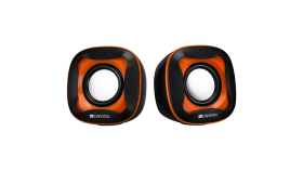 USB 2.0 Speaker, black +orange 021C, 2*3W 4 Ohm, ABS, 1.2m cable with USB2.0 & 3.5mm audio connector