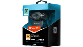 CANYON 2k Ultra full HD 3.2Mega webcam with USB2.0 connector, built-in MIC, Manual focus, IC SN5262, Sensor Aptina 0330, with tripod, cable length 1.5m, Grey, 61.1*47.7*63.2mm, 0.182kg