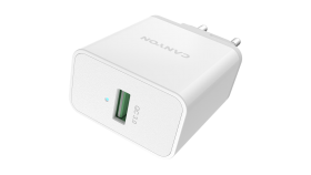 Canyon, Wall charger with 1*USB, QC3.0 18W, Input: 110V-240V, Output:Output: DC 5V/3A,9V/2A,12V/1.5A, Eu plug, OCP/OVP/OTP/SCP, CE, RoHS ,ERP. Size: 89*46*26.5mm, 52g, White