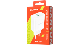 Canyon, Wall charger with 1*USB, QC3.0 24W, Input: 100V-240V, Output: DC 5V/3A,9V/2.67A,12V/2A, Eu plug, Over-load,  over-heated, over-current and short circuit protection, CE, RoHS ,ERP. Size:89*46*26.5 mm,58g, White