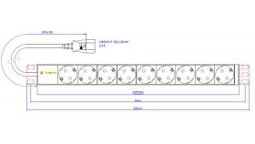 "19"" 1U Basic PDU, plug IEC 320 C14, power cord 2.8m, Outlets - 9x Schuko, power rating 10A"