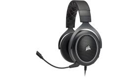 Геймърски слушалки Corsair HS60 Surround Gaming Headset (50mm неодимови говорители, USB адаптер за 7.1 съраунд, контрол на звука, микрофон) White