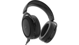 Геймърски слушалки Corsair HS70 Wireless Gaming Headset (50mm неодимови говорители, 7.1 съраунд, 16 часа с едно зареждане, контрол на звука, микрофон, USB) Carbon