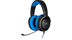 Геймърски слушалки Corsair HS35 Gaming Headset (50mm неодимови говорители, контрол на звука, микрофон) Blue