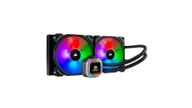 Водно охлаждане за процесор Corsair Hydro Series H115i RGB PLATINUM, Compatible with Intel (115x, 2011/2066) and AMD (AM3/AM2, AM4, TR4), 280mm Dual Radiator, RGB magnetic levitation fans, Multi-Zone RGB LEDs, Extreme Liquid CPU Cooler