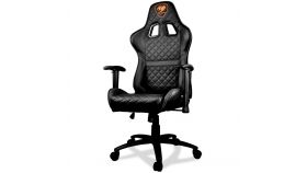 COUGAR Armor ONE BLACK Gaming Chair, Diamond Check Pattern Design, Breathable PVC Leather, Class 4 Gas Lift Cylinder, Full Steel Frame, 2D Adjustable Arm Rest, 180? Reclining, Adjustable Tilting Resistance