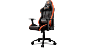 COUGAR Armor Pro Orange, Full Steel Frame, Breathable PVC Leather, Diamond Check Pattern Design, Micro Suede-Like Texture, Head and Lumbar Pillow, Mid Size, 3D Arm Rest Directions, Class 4 Gas Lift Cylinder, Orange / Black, 120 kg Weight Limit
