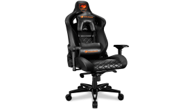 COUGAR Armor TITAN BLACK Gaming Chair,Adjustable Design,Support for 160 Kg,Piston Lift Height Adjustment,170? Reclining,4D Adjustable Arm Rest,Full Steel Frame,Class 4 Gas Lift Cylinder,Aluminum Alloy 5-Star Base,Breathable Premium PVC leather
