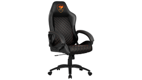 COUGAR Fusion Black Gaming Chair, diamond-check pattern,Class 4 gas lift cylinder,Dependable metal 5-star base,PU wheels,Weight Capacity - 120kg.