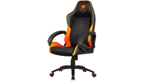 COUGAR Fusion Orange Gaming Chair, diamond-check pattern,Class 4 gas lift cylinder,Dependable metal 5-star base,PU wheels,Weight Capacity - 120kg.