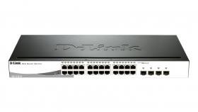 Суич D-Link 24-port 10/100/1000 Gigabit Smart Switch including 4 Combo 1000BaseT/SFP, управляем, за монтаж в шкаф