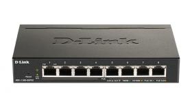 Суич D-Link DGS-1100-08PV2, 8 портов PoE 10/100/1000 Gigabit Smart Switch, управляем, за монтаж в шкаф