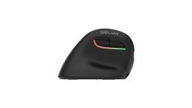 RGB безжична/Bluetooth вертикална мишка Delux M618ZD за лява ръка черна