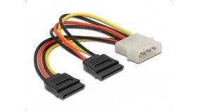 Кабел DeLock Power Molex 4 Pin мъжко към 2 x SATA 15 Pin, 16 cm