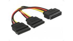 Кабел DeLock Power SATA 15 pin към 2 x SATA HDD, 15 cm