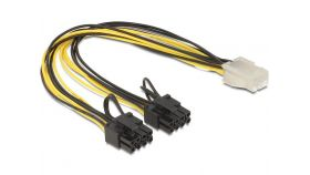 Кабел DeLock PCI Express power 6 pin женско > 2 x 8 pin мъжко, 30 cm