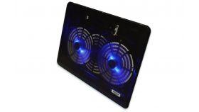 "EDNET 64098 :: Поставка за лаптоп, 15, 6"", 2х 140 мм вентилатора, регулируема височина, синя подсветка, черна"