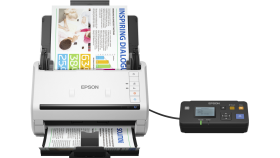 Scanner EPSON WorkForce DS-530N, A4, Letter, 600dpi x 600dpi (Horizontal x Vertical), Input: 24BitsColor, 50Pages, Yes, Skip blank page, A3 stitching, Punch holes removal, Automatic de-skew, Automatic multi-document recognition, Dual Image Outpu