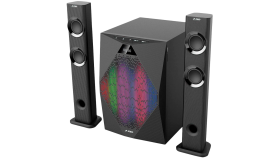 """Multimedia Speakers F&D T-300X 2.1 TV, 17.5Wx2+35W (70W  RMS), Satellite driver: 2"""" full range, Subwoofer driver: 8"""" bass, 30Hz~ 104Hz,  BT 4.0, microphone included, Multicolored LED Themes"""