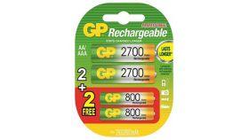 Акум.Батерия R6 AA 2700mAh  NiMH 2 бр. GP270AAHC + 2 FREE R03 800mAh GP