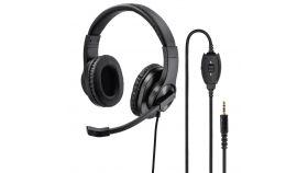 Слушалки с микрофон HAMA HS-P350, стерео, Y-адаптер, 3.5мм жак, Черен