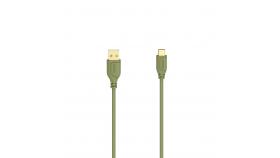 Кабел Hama Flexi-Slim USB-C - USB-A 2.0 мъжко, 0.75м,тънък, позлатен, червен