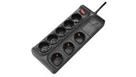 Разклонител HAMA защита от пренапрежение, 8 гнезда, 1.5 м, бутон вкл/изкл, Черен