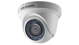 Hikvision HD-TVI 720P Indoor IR Turret camera, 1MP progressive Scan CMOS, 1296x732 Effective pixels, 30fps@720p, 3.6 mm lens (Field of view 92°), up to 20m IR distance, 0.1 Lux @(F1.2,AGC ON), 0 Lux with IR, Indoor installation IP66, 12V DC/4W
