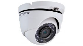 Hikvision HD-TVI 1080P IR Turret camera, 2MP progressive Scan CMOS, 1920x1080 Effective pixels, 25fps@1080p, 2.8 mm lens (Field of view 103°), up to 20m IR distance, 0.1 Lux@F1.2 (0 Lux IR on), IP66 weatherproof, 12V DC/4W.