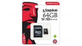 Карта памет Kingston Canvas Select, 64GB, UHS-I, Class 10 (U1), Адаптер