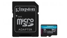 Карта памет Kingston Canvas Go! Plus, 64GB, UHS-I, Class 10, U3, V30, A2, Адаптер