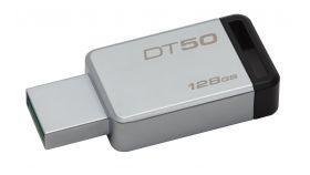 USB памет KINGSTON DataTraveler 50 128GB, USB 3.0, Сребрист/Черен