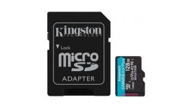MicroSD card Kingston 128GB microSDXC Canvas Go Plus 170R A2 Class 10 U3 V30 Card + with SD Adapter, read/write Up to 170/90MB/s