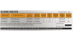 MIRSAN MR.HRK80.01 :: Sliding-рафт за сървърен шкаф - 482 x 525 x 45 мм, D=800 мм, вентилиран, 4-точков монтаж, 30 кг товар, черен