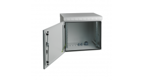 MIRSAN MR.IP55W09U45.02 :: IP55 Outdoor сървърен шкаф - 600 x 450 x 500 мм, D=450 мм / 9U, 100 кг товар, бял, за стена