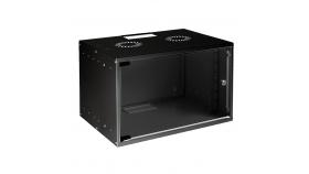 MIRSAN MR.SOH09U40DE.01 :: Сървърен шкаф за мрежово оборудване - 535x400x440 мм, D=400 мм / 9U, за стена, разглобен, Черен