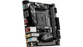 MSI B450I GAMING PLUS MAX WIFI, Mini-ITX, AMD AM4 socket, 1x PCI-E 3.0 x16, DP, HDMI, 2 DIMMs, Dual Channel DDR4-3466+ MHz(OC), 1x M.2 32Gb/s, 4x SATA 6Gb/s, 6x USB 3.2 Gen1 5Gbps, 4x USB 2.0, 8111H Gigabit LAN, Wi-Fi AC 3168, BT 4.2, 7.1 HD Audio