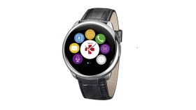 MyKronoz Smartwatch ZeRound Premium black leather band Смартчасовник- с тъч дисплей и кръгла форма