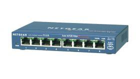 NETGEAR 8-Port Ethernet Switch with front connectors - metal case, Desktop fanless, external power supply