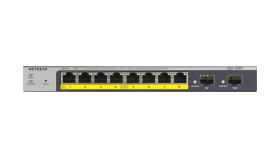 Суич Netgear GS110TP v3, 8 x 10/100/1000 Gigabit Smart switch, 8 x PoE and 2 x SFP, auto VoIP and Video, ACL (Up to 53W)