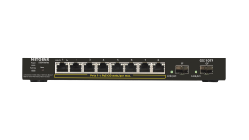 Суич Netgear S350 Series GS310TP, 8 x 10/100/1000 Gigabit Smart switch, 8 x PoE+ and 2 SFP, enhanced QoS (Up to 55W)