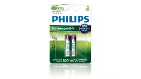 Philips Rechargeable презареждаща батерия LR03 AAA, 800 mAh, 2-blister (HR03), for CORDLES PHONE