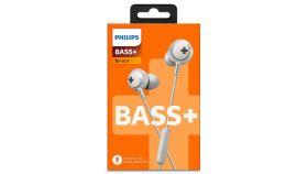 Philips слушалки за поставяне в ушите с микрофон BASS+, цвят: бял