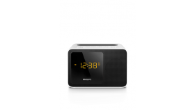 Philips радио с часовник и аларма, Bluetooth®, универсално зарядно, компактен дизайн цвят бял