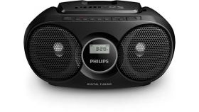 Philips CD радиокасетофон, FM/MW стерео тунер, 2 x 1 W RMS, черен, захранване от мрежата или батерии размер C (LR14) x 6