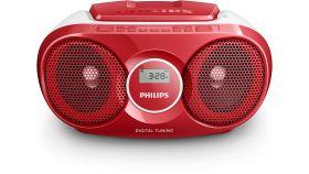 Philips CD радиокасетофон, FM/MW стерео тунер, 2 x 1 W RMS, червен, захранване от мрежата или батерии размер C (LR14) x 6