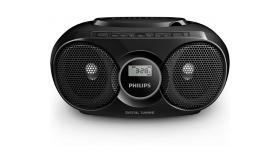 Philips CD радиокасетофон, компактна конструкция, USB, цвят черен