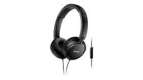 Philips Слушалки с микрофон, цвят черен