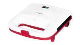 Philips Сандвич-тостер Daily Collection 820W, Бял/ червен